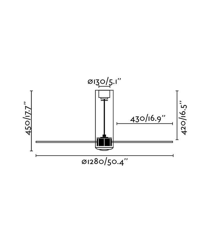 Medidas ventilador de techo negro TUBE FAN