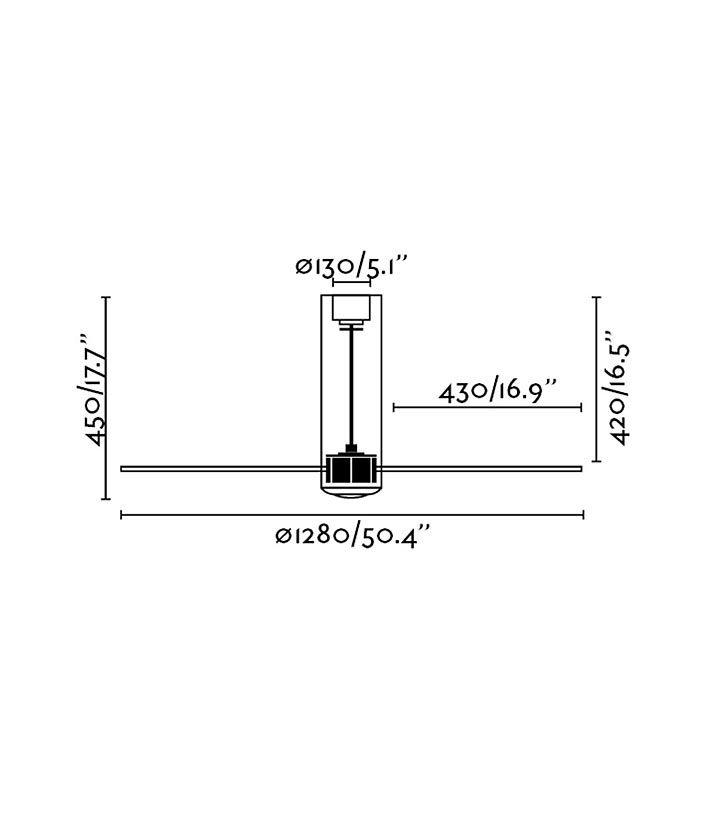 Medidas ventilador de techo transparente TUBE FAN