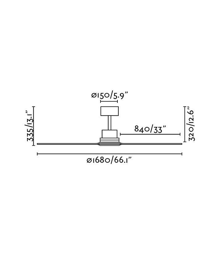 Medidas ventilador grande níquel y pino LANTAU-G