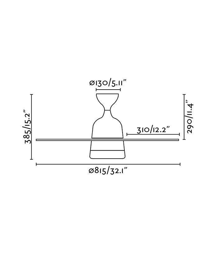 Medidas ventilador MEDITERRANEO blanco