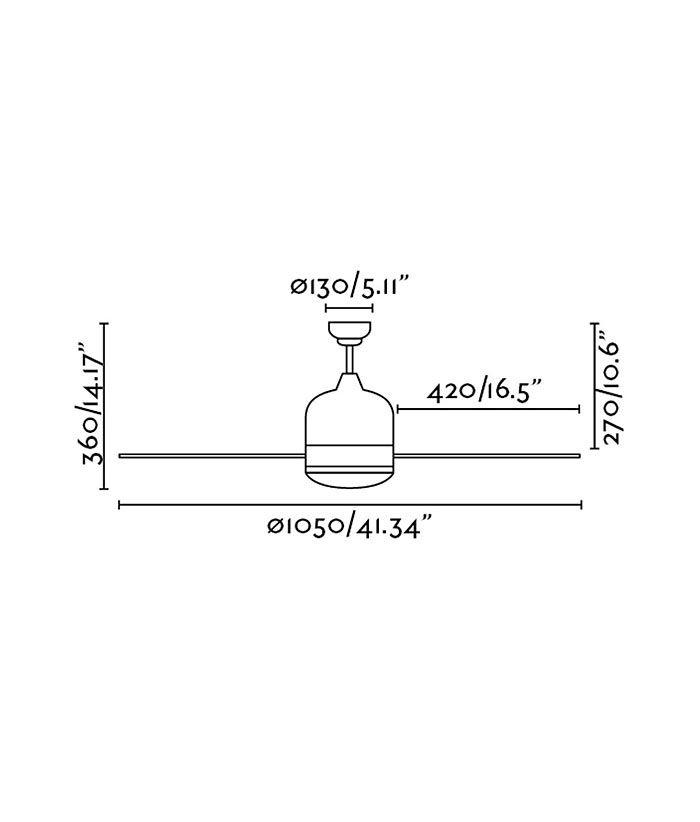 Medidas ventilador moderno blanco OBOE