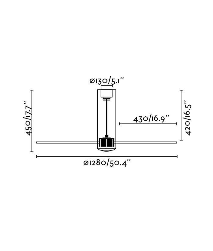 Medidas ventilador negro mate TUBE FAN