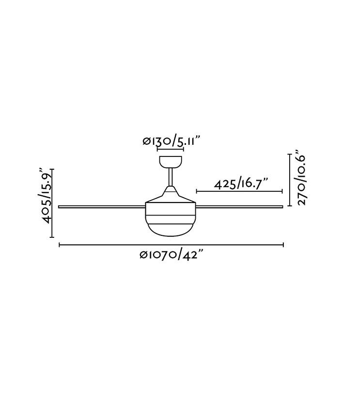 Medidas ventilador níquel mate de techo MINI ICARIA
