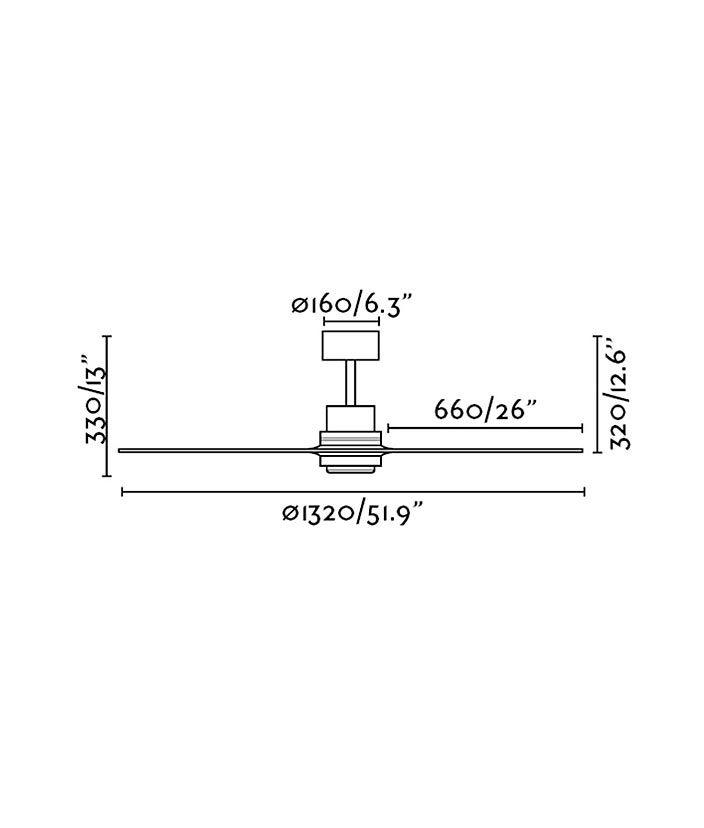 Medidas ventilador níquel y pino LANTAU