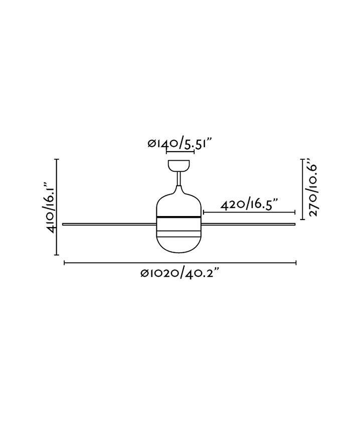 Medidas ventilador techo CEBU níquel