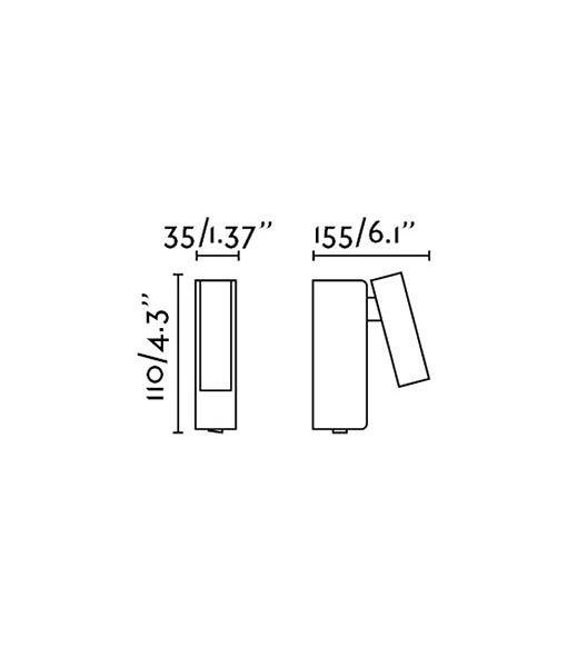 Medidas aplique de pared níquel mate ROB