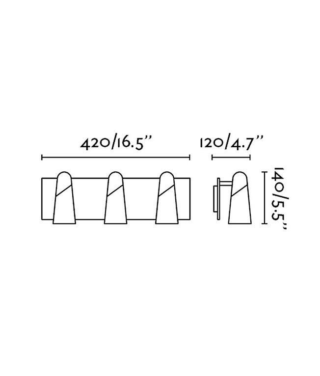 Medidas aplique minimalista con tres luces LAO LED