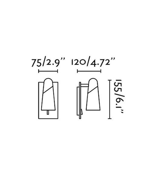 Medidas aplique minimalista negro y cobre LAO LED