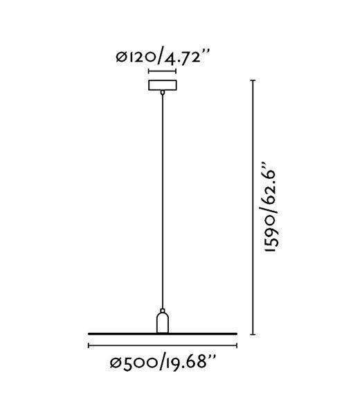 Medidas lámpara colgante minimalista negra PLAT