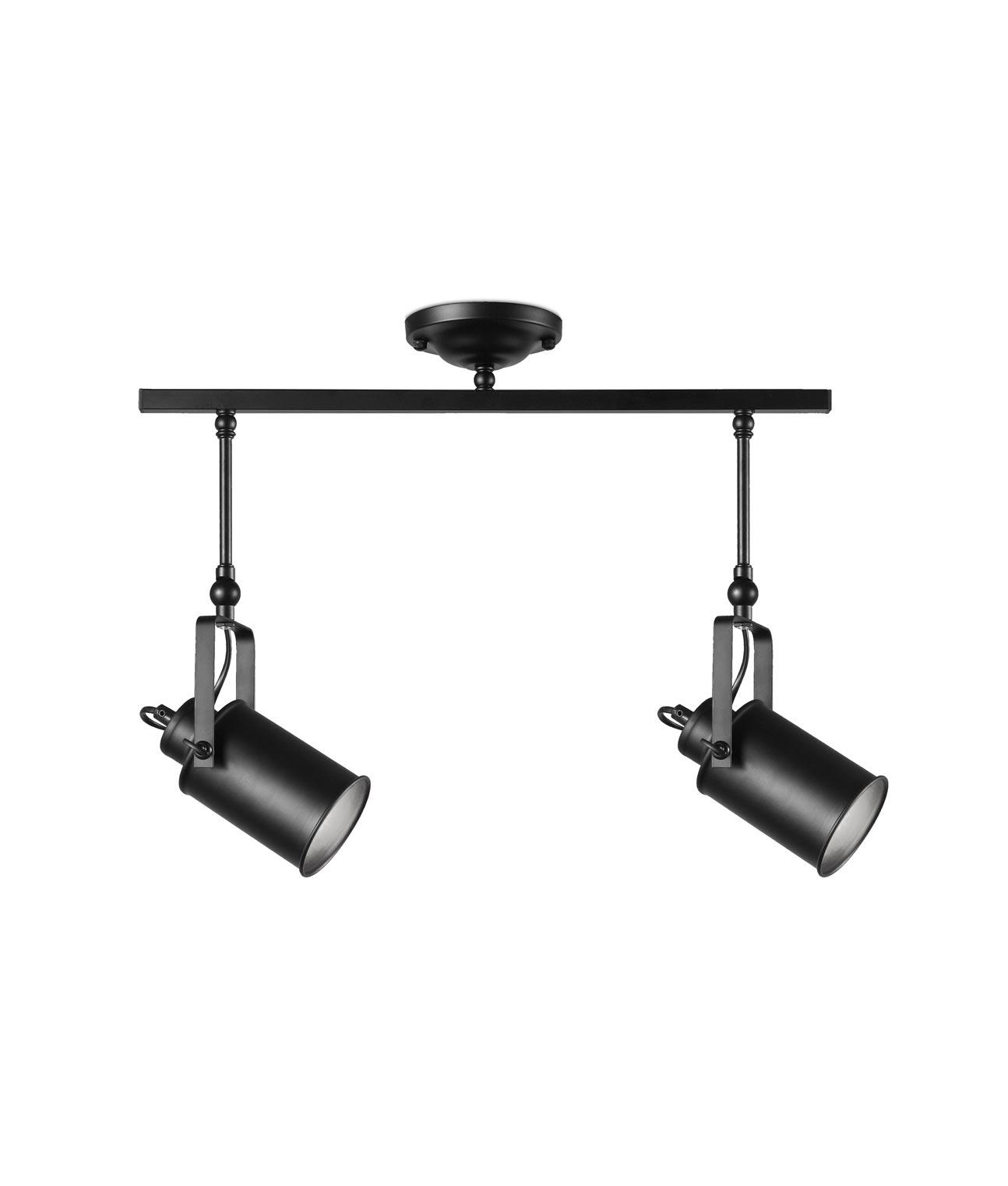 Lámpara con dos focos negra LIST