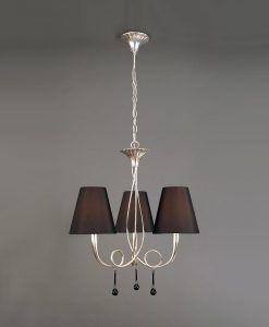 Lámpara con tres luces negra y plata PAOLA