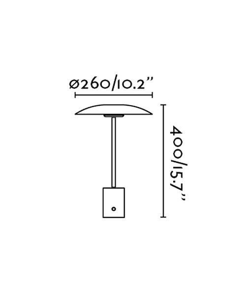 Medidas lámpara de mesa oro satinado y negra HOSHI LED