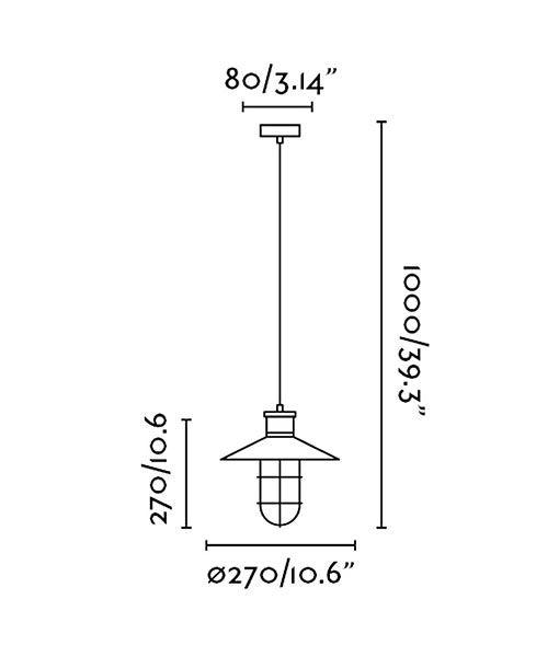 Medidas lámpara de techo industrial MARINA