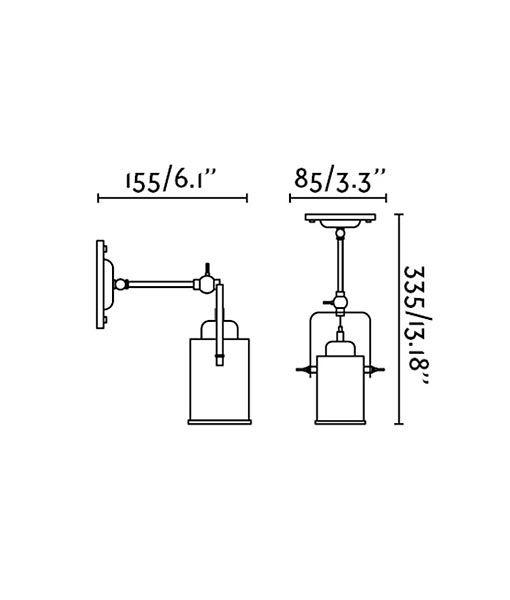Medidas lámpara foco estilo industrial LIST