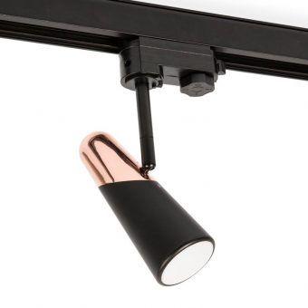 Proyector de carril luz cálida negro y cobre LAO LED
