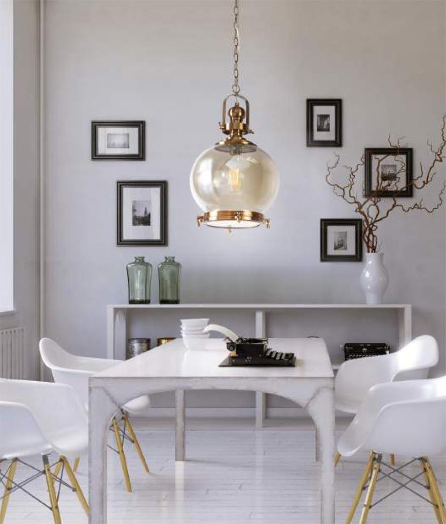 Lámpara colgante circular VINTAGE cristal/cuero ambiente