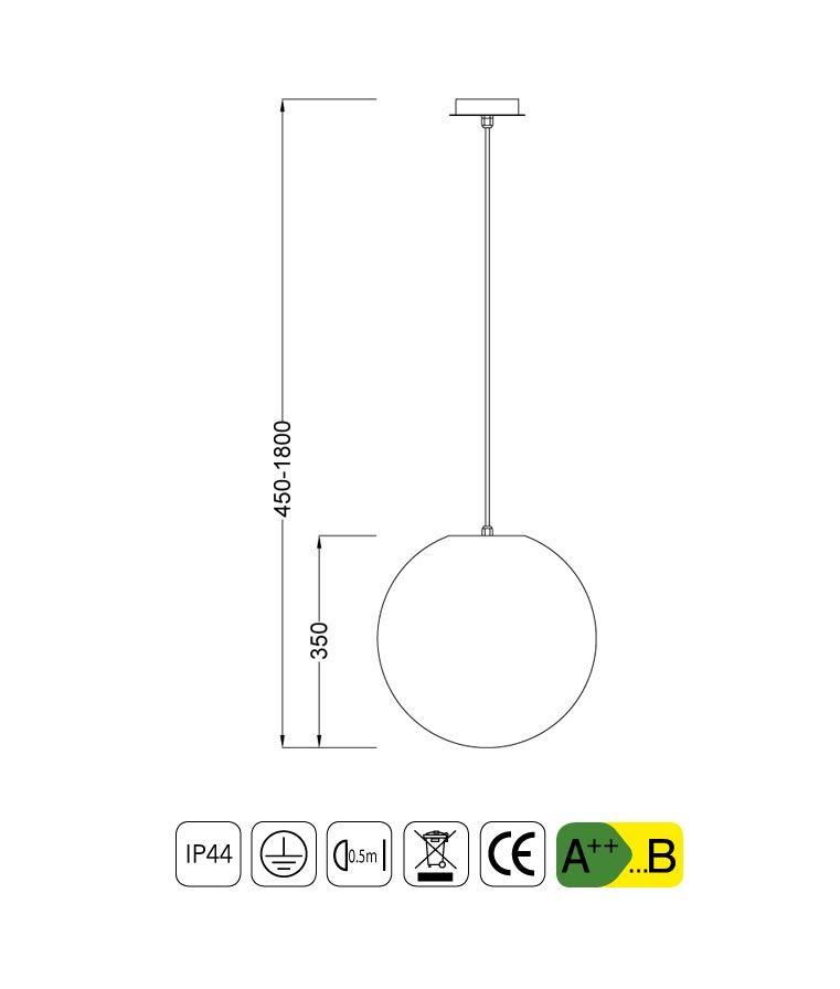 Medidas colgante pequeño IP44 OUTDOOR