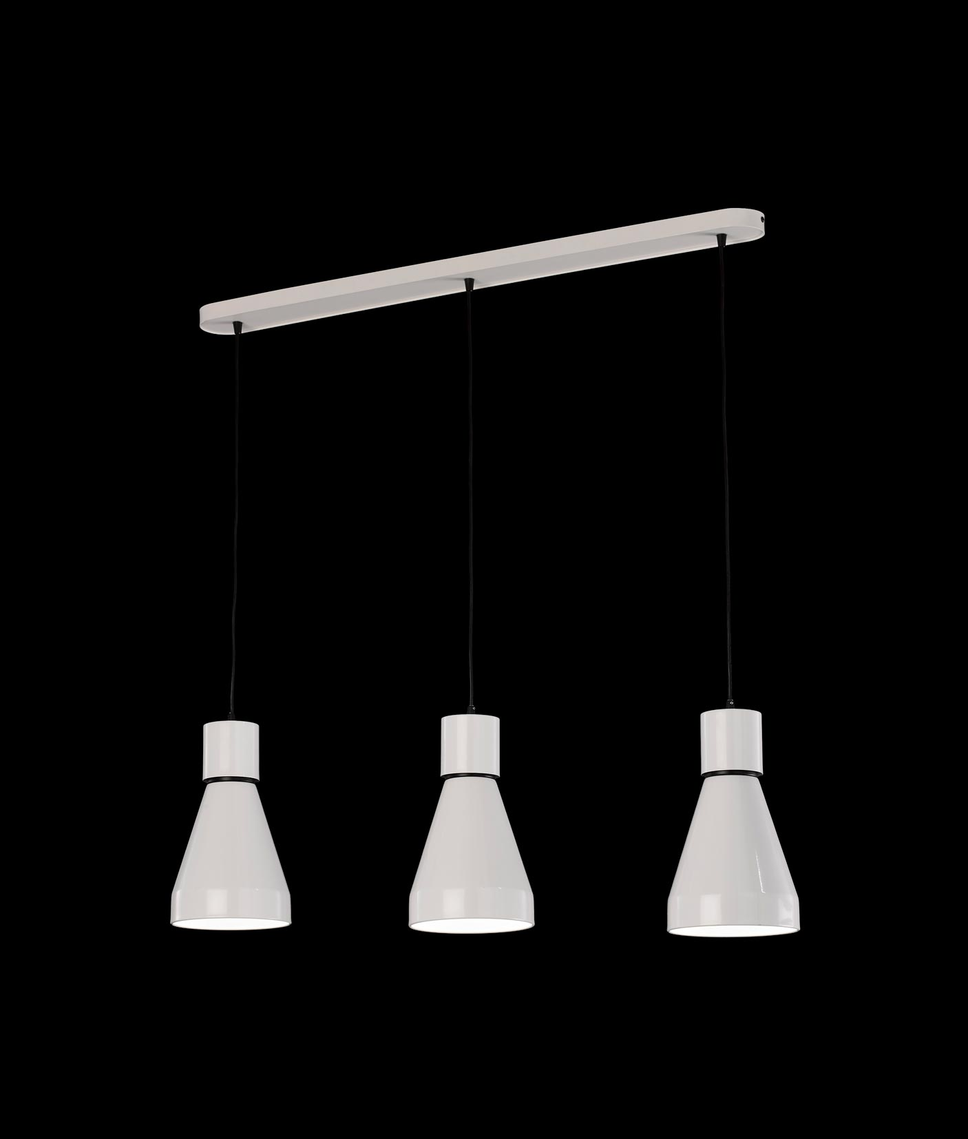 Iluminación lineal colgante 3 luces KOS detalle