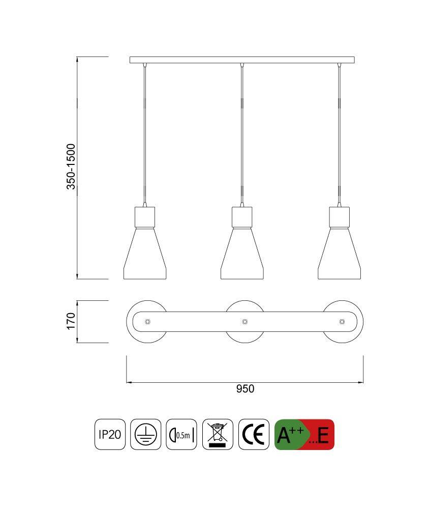 Medidas iluminación lineal colgante 3 luces KOS