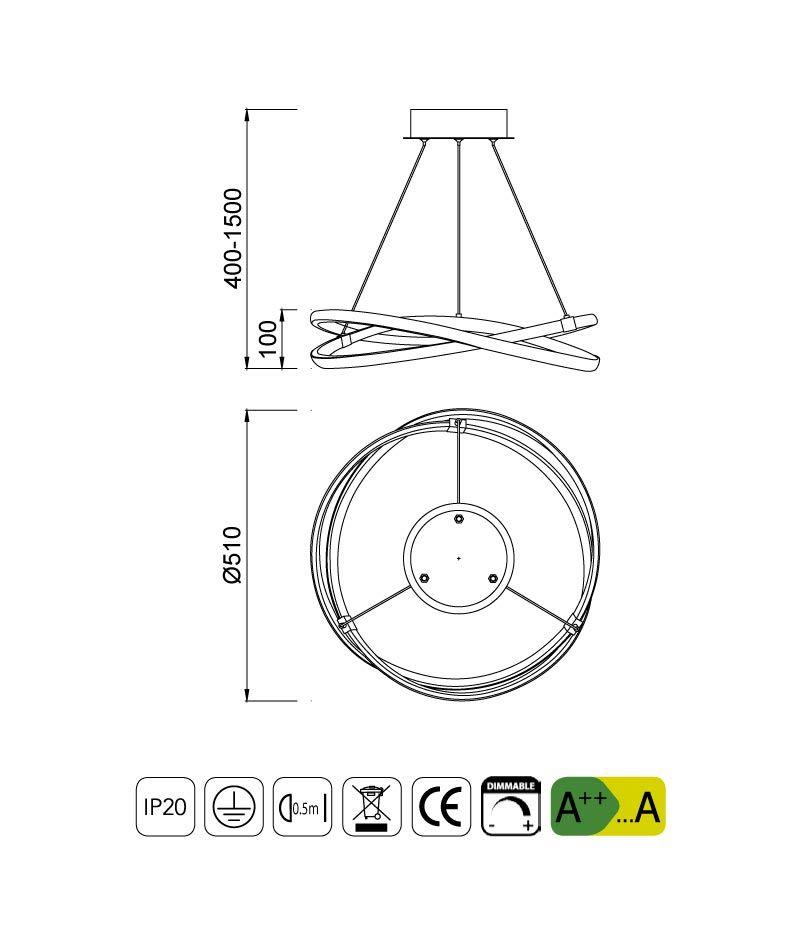Medidas Lámpara de techo INFINITY LED dimmable