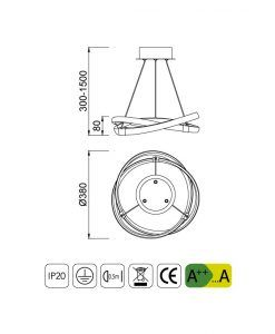 Medidas lámparas colgante moderna INFINITY LED