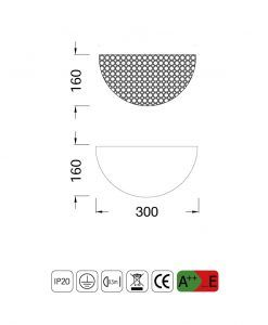 Medidas lámpara aplique cristal 2 luces CRYSTAL BALLS