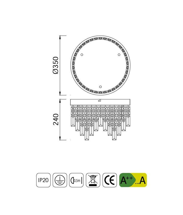 Medidas lámpara circular cristal KAWAI LED