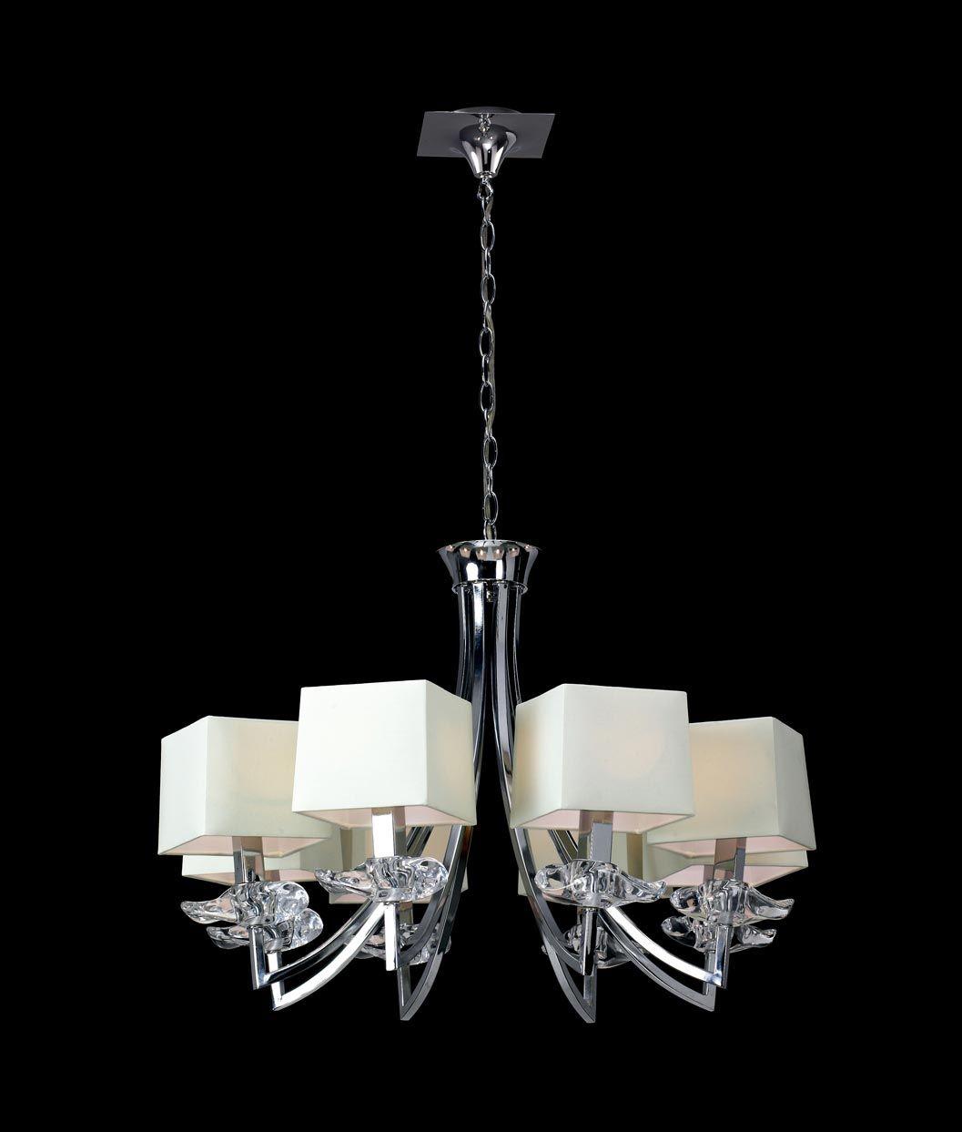 Lámpara colgante crema y cromo 8 luces AKIRA detalle