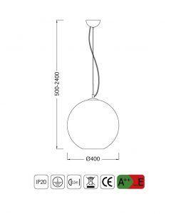 Medidas lámpara colgante grande CRYSTAL BRONCE