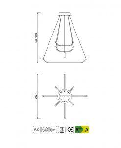 Medidas lámpara de techo pequeña PAPUA LED cromo plata