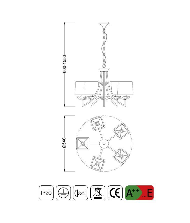 Medidas Lámpara colgante sofisticada AKIRA 5 luces