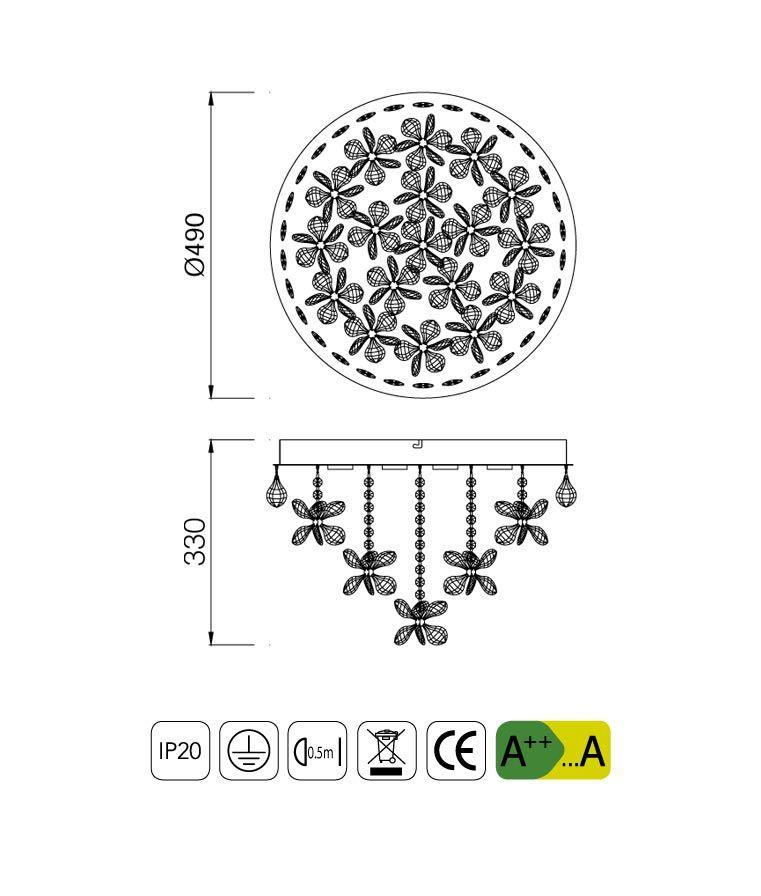 Medidas lámpara cristal KAWAI LED