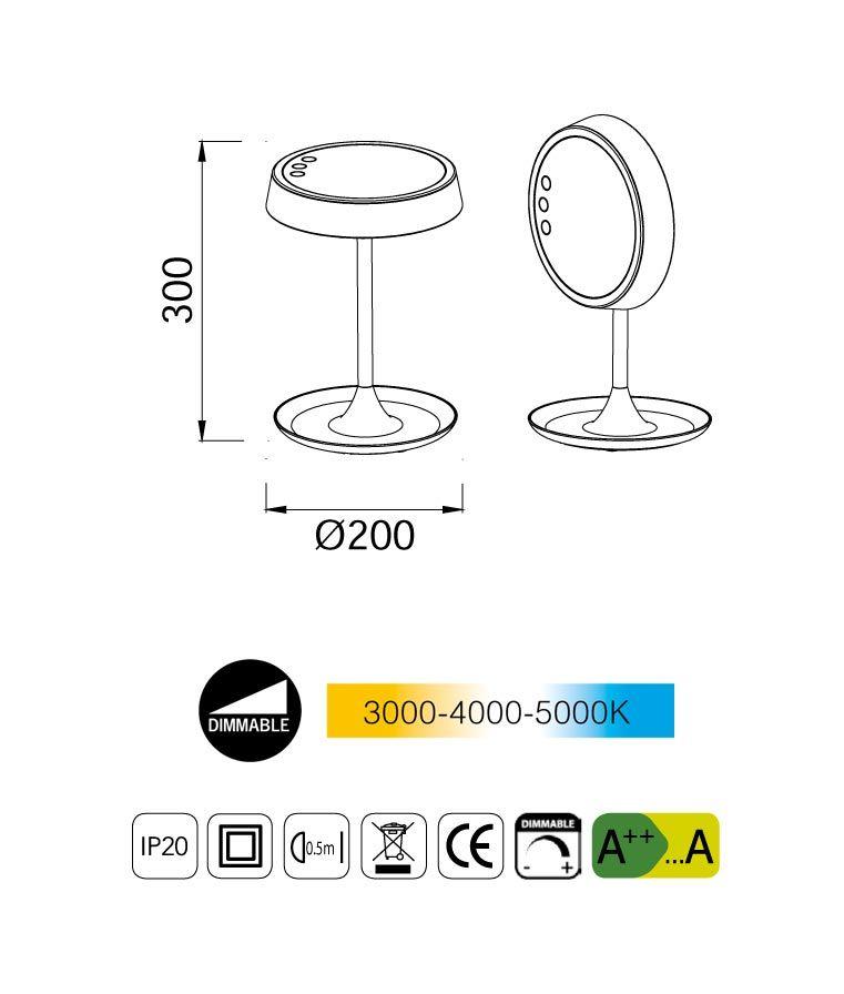 Medidas lámpara de mesa con espejo LADY LED