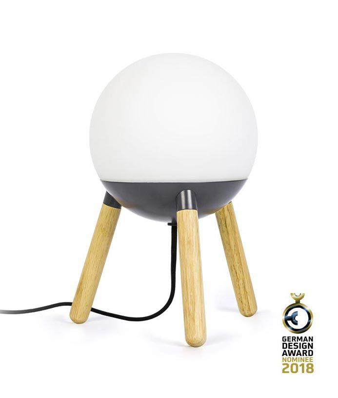 Lámpara de mesa original gris y madera MINE - Premiada