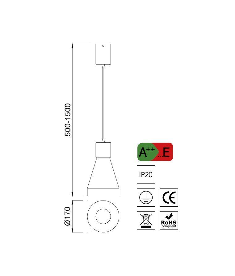 Medidas lámpara de techo grande KOS blanco - La Casa de la Lámpara