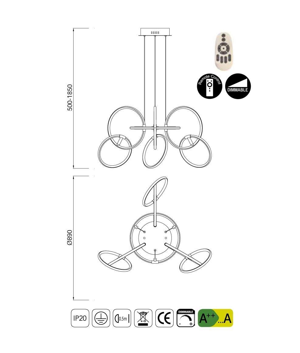 Medidas lámpara dimable mediana AROS LED