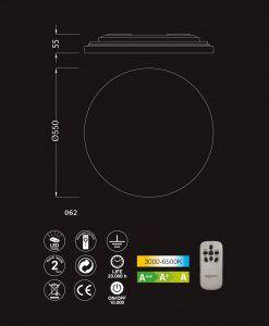 Medidas y caracterísitcas lámpara dimmable techo ZERO LED