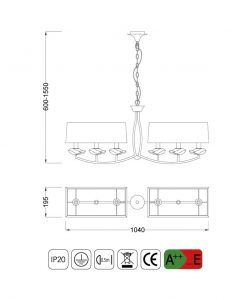 Medidas lámpara lineal sofisticada ARIKA