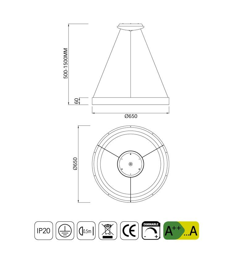 Medidas lámpara mediana dimable blanca NISEKO LED