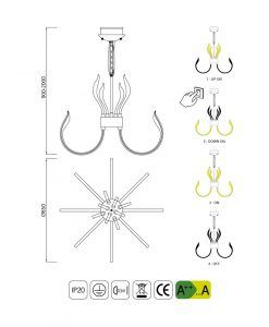 Medidas lámpara LED de diseño 85 cm VERSAILLES