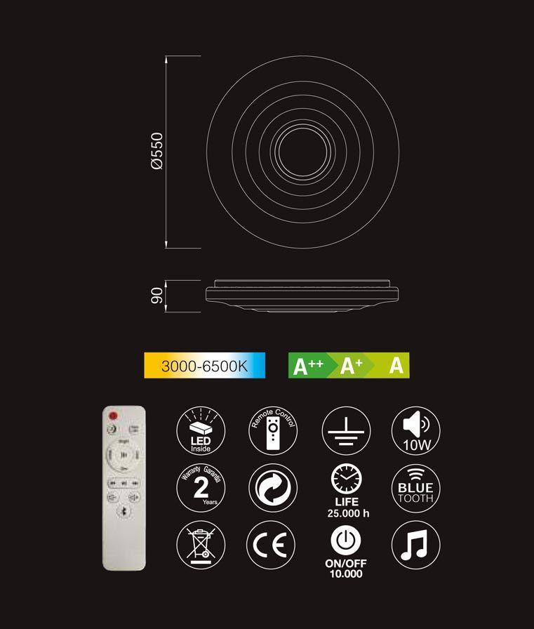 Medidas y características lámpara plafón altavoz ONDAS MUSIC LED