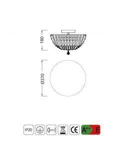 Medidas lámpara plafón grande 5 luces CRYSTAL G9