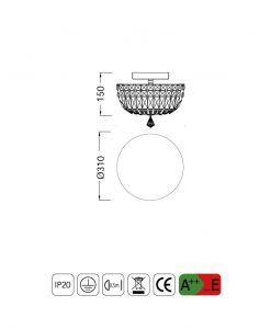 Medidas lámpara plafón mediano 4 luces CRYSTAL G9