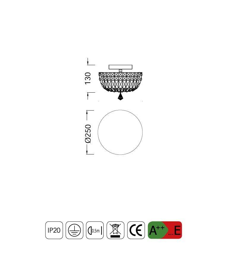Medidas lámpara plafón pequeño 4 luces CRYSTAL G9