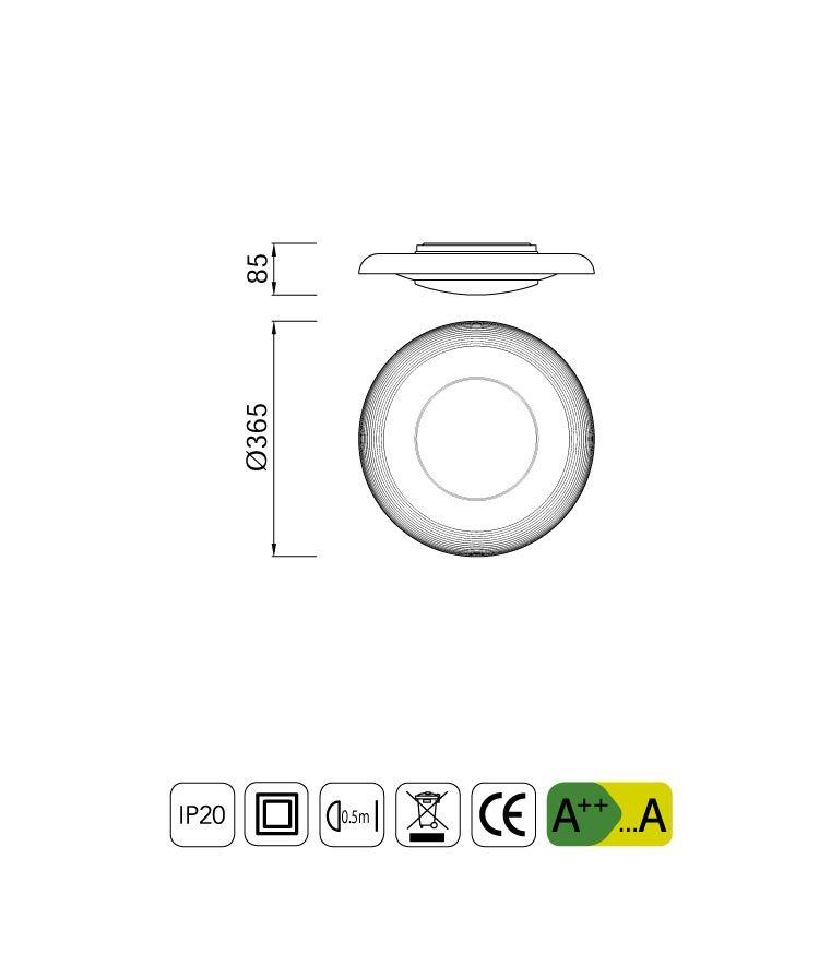 Medidas lámpara plafón pequeño cristal ARI LED