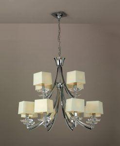 Lámpara techo crema cromo 12 luces AKIRA detalle