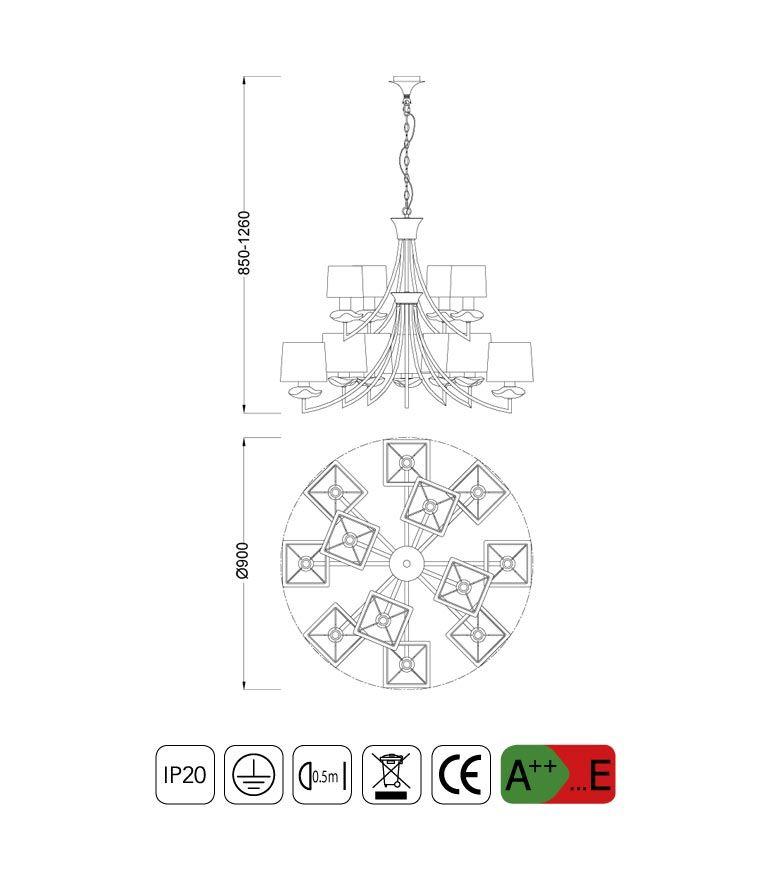 Medidas lámpara techo crema cromo 12 luces AKIRA