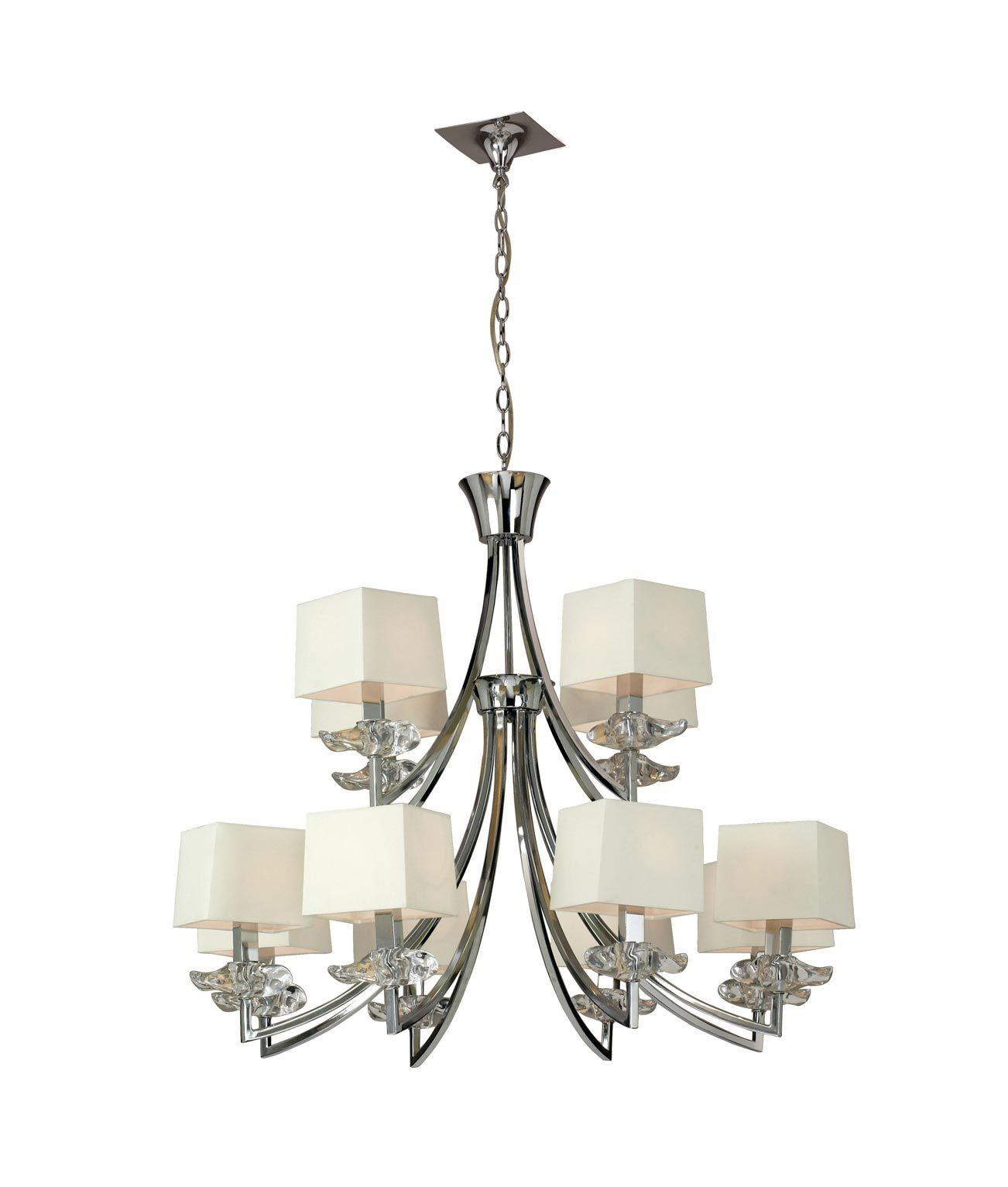 Lámpara techo crema cromo 12 luces AKIRA