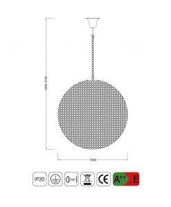 Medidas lámpara techo cristal 18 luces CRYSTAL BALLS