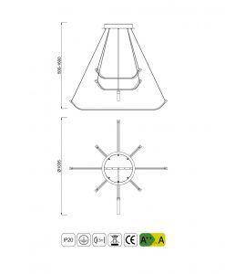 Medidas lámpara de techo grande PAPUA LED cromo plata